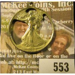 Cut Out 1944 Walking Liberty Half Dollar Made Into A Pendant