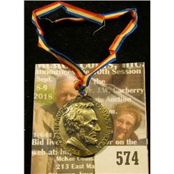 1909 Abraham Lincoln Medal With Ribbon Commemorating 100 Years After His Birth