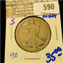 1917-S Obverse Mint Mark Walking Half Dollar