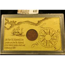 1808 Shipwreck Copper Coin From The British East Indies Company.  This Coin Was Found In The Wreckag