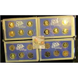 1999, 2000, 2001, And 2002 Proof State Quartyerv Sets.  These Are The First 20 Quarters Issued In Th