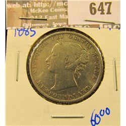 1885 Newfoundland Silver Half Dollar