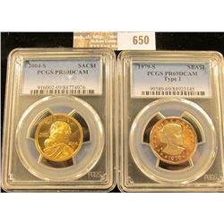 2004-S Sacagawea Proof Dollar And 1979-S Susan B Anthony Proof Dollar Graded Proof 69 Deep Cameo By