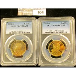 2001-S And 2006-S Sacagawea Dollars Graded Proof 69 Deep Cameo By Pcgs
