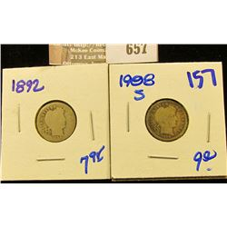 1892 And 1898-S Barber Dimes
