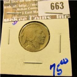 Key Date 1914-D Buffalo Nickel.  The Coin Is Rotated Counterclockwise On The Reverse