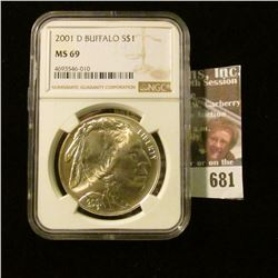 2001-D American Buffalo Commemorative Silver Dollar Graded Ms 69 By Ngc.  This Books For Around $200