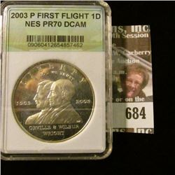 2003-P First Flight Commemorative Silver Dollar With Wilbur And Orville Wright
