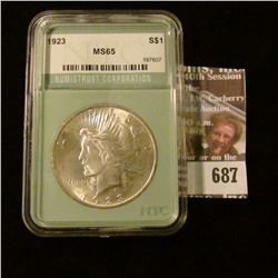 1923 Peace Dollar Slabbed And Graded Ms 65