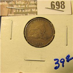 1857 Flying Eagle Cent With Full Rims And Letters Visible