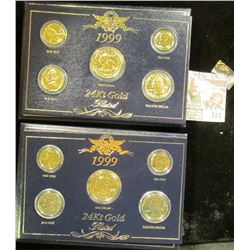 Two Gold Plated 1999 Coin Sets With Gift Box