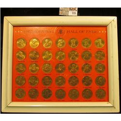 Framed Presidential Hall Of Fame Token Set.. There Are A Total Of 35 United States Presidential Toke