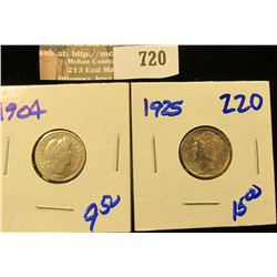 1925 Mercury Dime And 1904 Barber Dime