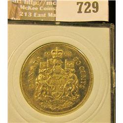 Canada 1963 Silver Half Dollar With A Young Queen Elicabeth