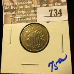 1866 Shield Nickel With No Rays