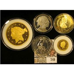 Large Replica Of The 1877 Gold Piece,  Abraham Lincoln Medal, Nolan Ryan Medal,Replica Four Dollar G