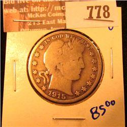 Better Date 1915 Barber Half Dollar