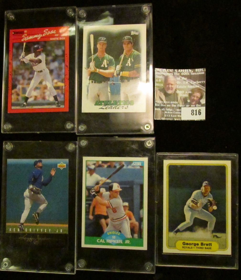5 Individual Baseball Cards Cal Ripken Jr Ken Griffey Jr George Brett Team Leaders Samm