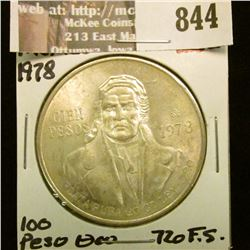 1978 Mexico Silver 100 Peso. .720 fine Silver. Gem BU.