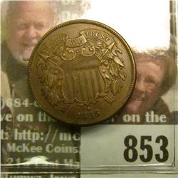 1865 U.S. Two Cent Piece, Brown AU.