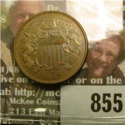 1867 U.S. Two Cent Piece, Brown AU.