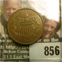 1868 U.S. Two Cent Piece, Brown AU.