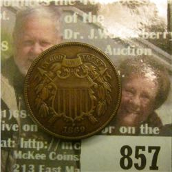 1869 U.S. Two Cent Piece, EF 40