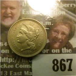 1869 U.S. Three-Cent Nickel, AU 55.