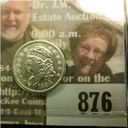 1834 Capped Bust Half Dime, AU 50.