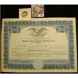 "926 _ Feb. 10, 1938 ""The Cracker Jack Co."" Stock Certificate for 10 Shares; & a 1905 25 Bit Danish W"