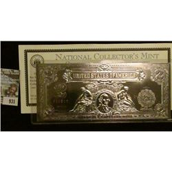 931 _ Copies of Series 1899 $2 large size Silver Certificates individually die-struck in .999 Pure S