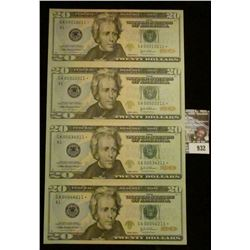932 _ Uncut Sheet Series 2004A Star Replacement notes of $20 notes, all four notes serial numbers en