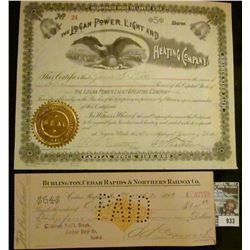 "933 _ January 7, 1891 ""The Logan Power, Light and Heating Company"" Five Shares with gold notary seal"