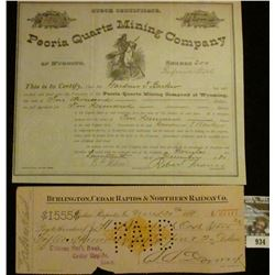 "934 _ Number 182 Stock Certificate for $2000 ""Peoria Quartz Mining Company of Wyoming Shares 200"", e"