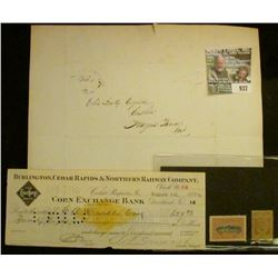 "937 _ Feb 6th, 1836 Folded letter with Postal Stamp; 1899 Check with Gold Documentary Stamp ""Burling"