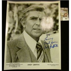 "947 _ 8"" x 10"" autographed black and white Studio photo of Andy Griffith."
