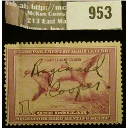 953 _ 1938 RW # 5, One Dollar U.S. Department of Agriculture Migratory Bird Hunting Stamp, signed.