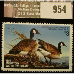 954 _ 1981 Minnesota Migratory Waterfowl Stamp Minnesota Department of Natural Resources depicting C