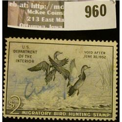 960 _ 1951 RW # 18, One Dollar U.S. Department of Agriculture Migratory Bird Hunting Stamp, with sig