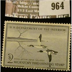 964 _ 1956 RW # 23, Two Dollar U.S. Department of Agriculture Migratory Bird Hunting Stamp, unsigned