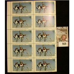 969 _ Uncut Sheet of ten 1980 $5 Migratory Waterfowl Stamps depicting Redheads. Mint, unsigned.