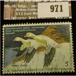 971 _ 1977 RW # 44, Five Dollar U.S. Department of Agriculture Migratory Bird Hunting Stamp, depicti