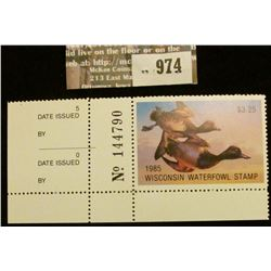 974 _ 1985 Wisconsin Waterfowl Stamp $3.25. Unsigned with corner panel edge.