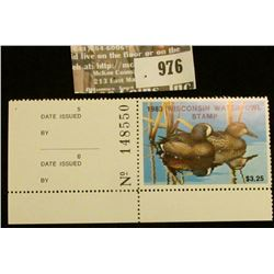 976 _ 1983 Wisconsin Waterfowl Stamp $3.25. Unsigned with panel edge.