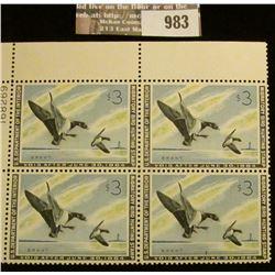 983 _ 1963 U/L Plate block of 4 $3 U.S. Departement of the Interior Migratory Bird Hunting Stamps, n