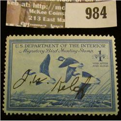 984 _ 1948 RW # 15, One Dollar U.S. Department of Agriculture Migratory Bird Hunting Stamp, signatur