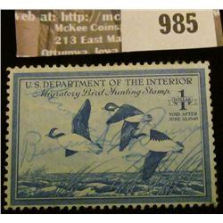 985 _ 1948 RW # 15, One Dollar U.S. Department of Agriculture Migratory Bird Hunting Stamp, signatur