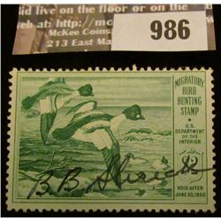 986 _ 1949 RW # 16, Two Dollar U.S. Department of Agriculture Migratory Bird Hunting Stamp, signatur