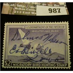 987 _ 1950 RW # 17, Two Dollar U.S. Department of Agriculture Migratory Bird Hunting Stamp, signatur