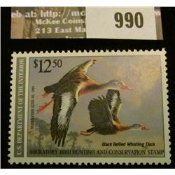 990 _ 1990 RW # 57, $12.50 U.S. Department of Agriculture Migratory Bird Hunting Stamp, unsigned, VF